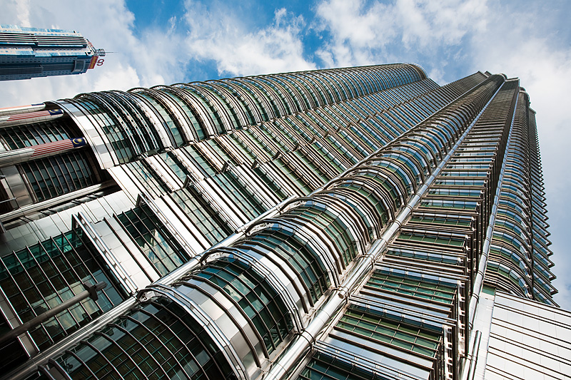 Bottom up view of one of the Petronas Twin Towers - Kuala Lumpur, Malaysia - Daily Travel Photos