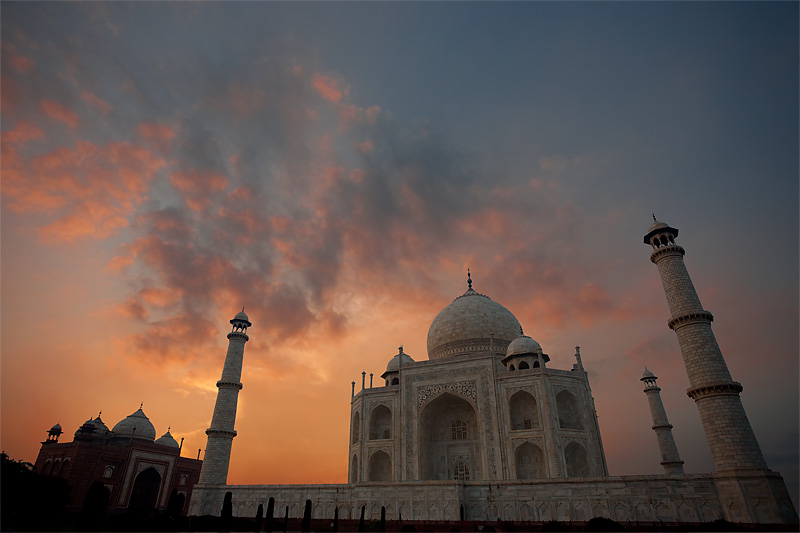 The sky glows brilliantly at dusk behind the Taj Mahal. - Agra, Uttar Pradesh, India - Daily Travel Photos