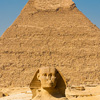 photo: Sphinx Scale (Before/After) - The Sphinx and the Pyramid of Khafre at an empty Necropolis complex in Giza, Egypt.