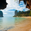 photo: Phranang Beach Railay - Karst formations seen from the mouth of a cave at Phranang beach in Railay.
